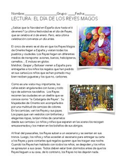 A comprehension reading in Spanish about el da de Reyes .Una lectura sobre el da de Reyes, las cabalgatas y los regalos, seguida por una docena de preguntas de comprensin del texto.There are more worksheets about Christmas in Spain in my store.https://www.teacherspayteachers.com/Product/SPANISH-READINGWRITING-DIA-DE-REYES-1618888