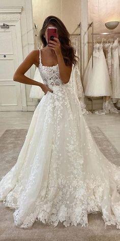 Cute Wedding Dress, Wedding Dress Trends, Princess Wedding Dresses, Modest Wedding Dresses, Bridal Dresses, Vintage Lace Wedding Dresses, Square Wedding Dress, Delicate Wedding Dress, Short Wedding Dresses