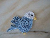 crochet parrot, crested budger , crochet appliqué