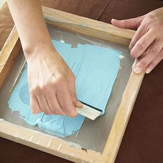 DIY Tutorial: Screenprinting at home  Picture frame + fabric + mod podge = awesome!