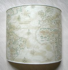 Wall Light Half Lampshade in Old World Map Parchment Wall Lamp