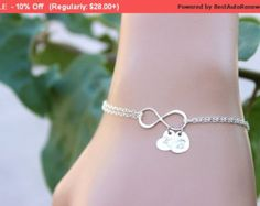 Personalized Infinity bracelet initial disc charms by BenyDesign