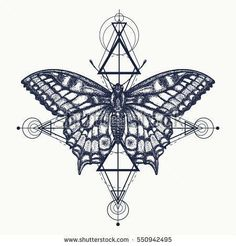 Butterfly tattoo, geometrical style. Beautiful Swallowtail boho t-shirt design. Mystical symbol of freedom, nature, tourism. Realistic butterfly art tattoo for women #geometrictattoos