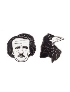 Look what I found from Out of Print! Edgar Allan Poe and Raven Enamel Pin Set – Out of Print #OutofPrintClothing