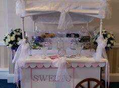 Welcome to Sweetscart ,a small family run business offering you our lovely traditional wooden Sweets Cart to hire for your special day. Sweetscart offers a contemporary style sweet cart for all special occasions in one's life. www.onestopweddingshopstaffordshire.co.uk