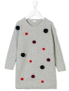 Il Gufo трикотажное платье с помпонами