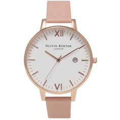 Olivia Burton Timeless Dusty Pink & Rose Gold ($149) ❤ liked on Polyvore featuring jewelry, watches, rose gold jewellery, red gold jewelry, leather-strap watches, rose gold jewelry and pink wrist watch