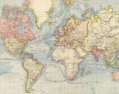World map printable digital download 1922 vintage world map old world map printable digital downloadntage world map old world map instant digital gumiabroncs Choice Image