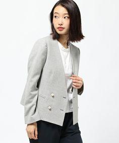 【セール】ノーカラーダブルブレストジャケット(テーラードジャケット)|ROPE'(ロペ)のファッション通販 - ZOZOTOWN