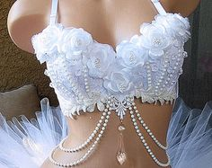Silver White Winter Wonderland Rave Bra Ice Princess by VinylDolls