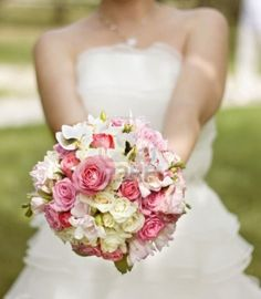 Picture of Bride in a white dress with a wedding bouquet of white and pink flowers stock photo, images and stock photography. Simple Wedding Bouquets, Flower Bouquet Wedding, Simple Weddings, Bouquet Flowers, Bridal Bouquets, Flower Girl Wreaths, Bouquet Charms, Bride Pictures, Pink And White Flowers