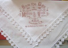 Invitation on a handkerchief - DIY Rubber Stamp Wedding Invitations and Save the Dates via Oh So Beautiful Paper (9)
