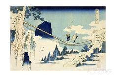 The Suspension Bridge Between Hida and Etchu Impression giclée par Katsushika Hokusai sur AllPosters.fr