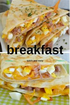 Ham and Cheese Breakfast Quesadillas Easy Healthy Recipes, Vegan Recipes, Easy Meals, Cooking Recipes, Cooking Ideas, Ham And Cheese, Dinner Recipes, Dinner Ideas, Quesadillas