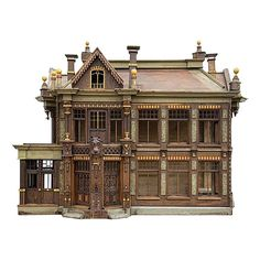Rare Painted Wooden Fretwork Birds Cage Depicting A House France. 1850's Hand made Wooden painted fretwork birds cage depicting a house , with windows, roof, and chimneies.