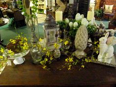 Vignette of Easter and Spring brightens a home.