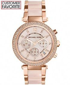 649394a179f3 Michael Kors Women s Chronograph Parker Blush and Rose Gold-Tone Stainless  Steel Bracelet Watch 39mm
