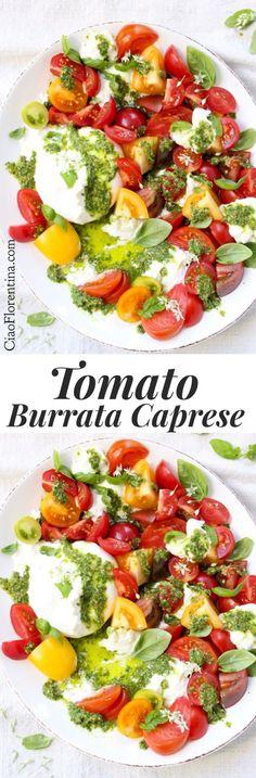 Tomato Burrata Salad Recipe, Burrata Caprese With Heirloom Tomatoes And Basil Pesto Ciaoflorentina Caprese Salat, Burrata Salad, Burrata Recipe, Healthy Salad Recipes, Vegetarian Recipes, Cooking Recipes, Cooking Pork, Basil Pesto, Summer Salads