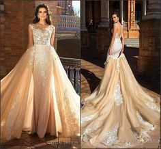 wedding dress with removable train