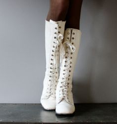 Tall Lace Up Vintage White Boots Leather by FoundForagedFormed, $90.00