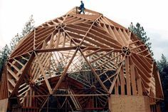 Timberline Geodesics - Dome Home Kits This looks incredibly strong with all those studs plus the nature of the dome or arch for strength! Dome Home Kits, Module Design, Geodesic Dome Homes, Monolithic Dome Homes, Dome Structure, Natural Homes, Dome House, Home Goods Decor, Earth Homes
