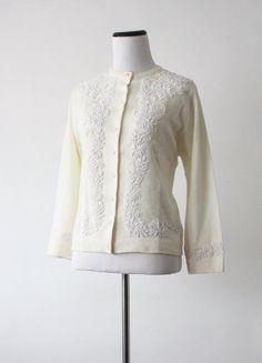 vintage 1950's cream beaded cardigan