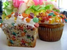 Fruity pebbles lemon cupcakes....lemon cake mix with one cup of fruity pebbles I don't like lemon but these are awesome ...you must try