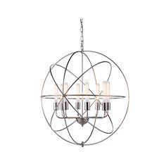 "Elegant Lighting 1453D32PN Vienna Collection Pendant Lamp D:32"""" H:33"""" Polished Nickel Finish"