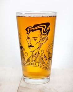 Nikola Tesla: Heroes of Science Pint Glass | Nerdy chemistry gift for him or her, perfect for engineers inventors graduates and students