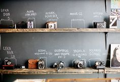 Organizing your camera collection with a chalkboard. I look forward to having this issue.