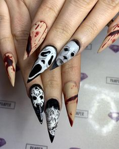 40 Best Stiletto Halloween Nail Designs For You To Try This Year - Page 22 of 40 - Chic Hostess Holloween Nails, Halloween Acrylic Nails, Halloween Nail Designs, Best Acrylic Nails, Acrylic Nail Designs, Halloween Halloween, Halloween Costumes, Scary Nails, Witchy Nails