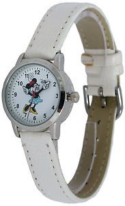 Disney Women's Watch Minnie Mouse Moving Hands White Dial White Strap Watch