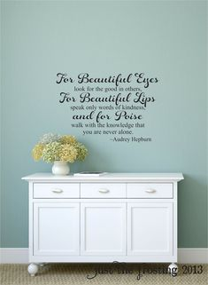 Audrey Hepburn For Beautiful Eyes Quote Wall Decal, Teen Girl's Vinyl Walll Decal, Vinyl Wall Lettering Art Decal