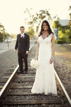 Bride and groom railroad tracks  Napa Valley Vineyard Wedding | Wendy Kathleen's Photography