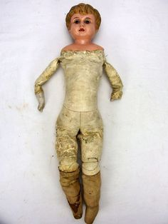Antique 1920's Minerva Tin Metal Head Doll Leather Body Glass Eyes Open Mouth