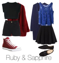 Ruby and Sapphire (Steven Universe) by momomarsha on Polyvore featuring adidas Originals, Zucca, Polo Ralph Lauren, Converse and Wet Seal