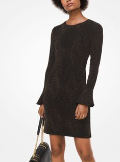 Designed in a textured diamond pattern knit with metallic threads, this dress features a classic crew neckline and bell cuffs. Vestido Michael Kors, Diamond Pattern, Michael Kors Black, Cold Shoulder Dress, Metallic, Knitting, Long Sleeve, Clothes, Dresses