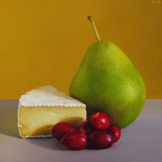 Camembert, Cranberries and Forelle Pear, painting by artist Oriana Kacicek