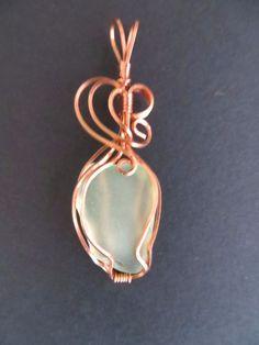 Green Sea Glass and Copper Wire Wrapped Pendant | eBay