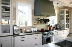 Like the glass cabinets on the counter instead of wall cabinets...