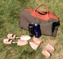 Golf Lover's Gift - includes Davinci resort bag, 2 pairs of aromatic red cedar shoe trees, 1 Thermos tumbler, 1 stainless steel water bottle. All items are personalized. #golf   #golflover   #golfer   #golfing   #classy   #gift   #personalized   #engraved   #giftideas
