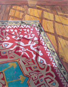 "Anna Valdez Light on Rug - oil on paper mounted on masonite, 31 x 26 inches, "" Art Painting, Islamic Art, Art Drawings, Anna Valdez, Painting, Illustration Art, Art, Kinder Art, Watercolor Illustration"