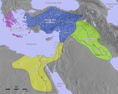 Hittite (Asia Minor) in Blue, Assyria in Green, Greece in Purple, Egyptian in Yellow (1400 BC)