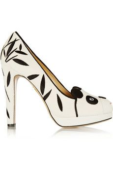 Charlotte Olympia Mei Xiang embellished velvet pumps | NET-A-PORTER These are adorable! <3