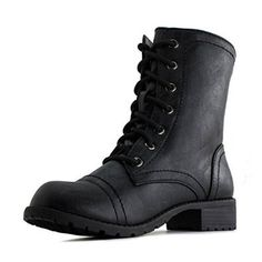 Season-less military taste boots for the edgiest fashionista! Featuring a spherical toe front, blocked heel, lace up design, and neat sewing accents on a smooth animal friendly leather higher. Full as