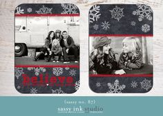 Chalkboard Snowflakes 5 x 7 Holiday Photo card by SassyInkStudio, $12.00