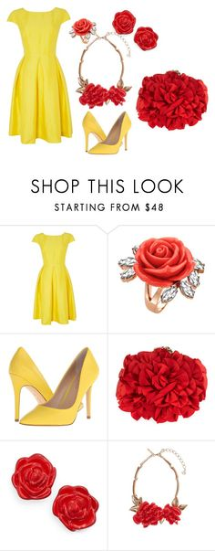 """""""Belle Ballgown"""" by mermaidclaui ❤ liked on Polyvore featuring MaxMara, Mawi, Charles by Charles David, Franchi, Kate Spade and Oscar de la Renta"""