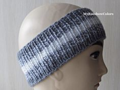 Grey White Knit Headband Striped Headband Knit Head Wrap #greyheadband, #knitheadwrap #MyRainbowColors