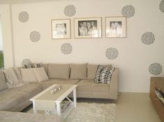 vinyl wall decals. cheap, easy to peel off, great for renters and to spruce up a space on the fly.