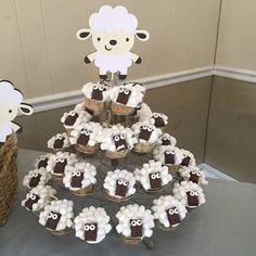 Lamb Baby Shower Decorations - Lamb Centerpieces - Sheep Baby Shower - Lamb Party - Lamb Decorations - Set of 5 Lamb Centerpiece Stakes, Baby Shower Cakes, Baby Boy Shower, Baby Shower Gifts, Farm Birthday, Birthday Parties, Aid Adha, Baby Shower Decorations, Baby Shower Themes, Shower Ideas